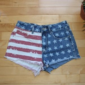 Pac-sun American flag high-rise shorts